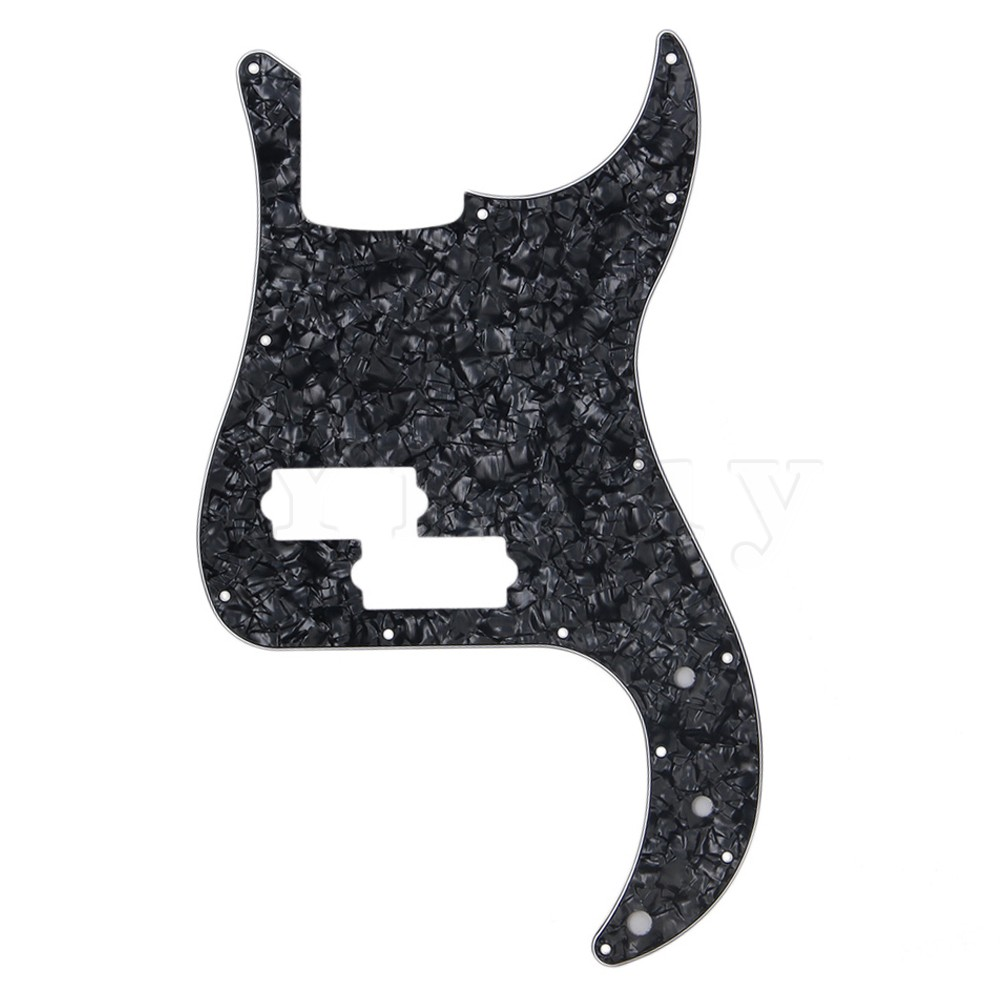 Yibuy Electric Bass Guitar Parts Black Pearl Pickguard Scratch Plate for PB Bass 3 Ply yibuy 2 pieces noiseless single coil pickup ceramic magnet for 5 string electric bass