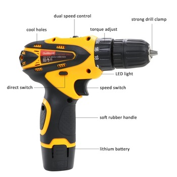 цена на Mini Cordless Electric Drill 12V Wireless Screwdriver Torque Drill Screw Rechargeable Lithium Battery Impact Driver Power Tool