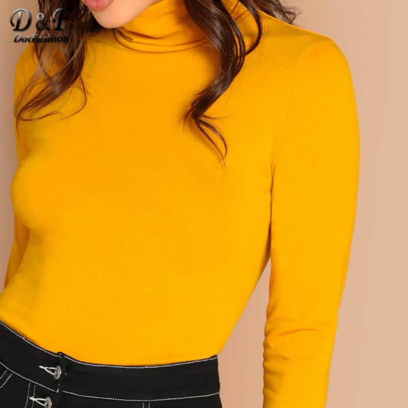 45296c0baf4a ... Dotfashion Mustard Turtleneck Slim Fit T-Shirt Long Sleeve Tee Shirt  Women Clothes 2019 Autumn ...