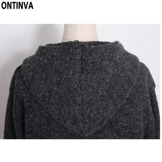 227c5fa7b0c Dark Gray Plus Size Tassel Sweater Cardigans Woman Fashion Full Sleeve with  Cap Pockets Thick Long Warm Sweater Coat 5XL Poncho