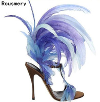 Summer New Fashion Blue/Purple Feather Straps Women Open Toe Sandals Sexy T Strap Ankle Buckle Ladies High Heels Plus Size 43