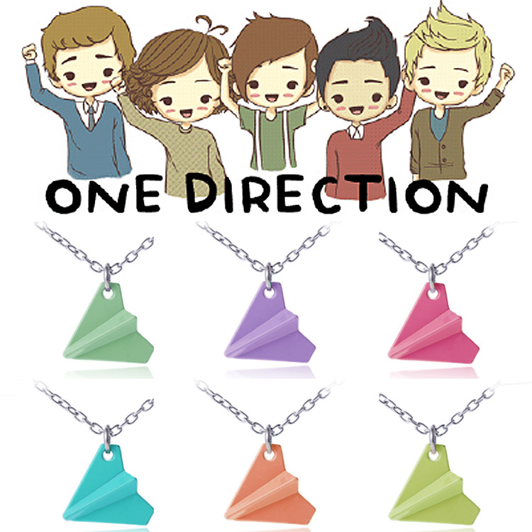 Fantastic New Arrival Hot Sale Hot Fashion One Direction Harry Styles Paper Airplane Necklace Chain Pendant Colorful 6pcs/Lot