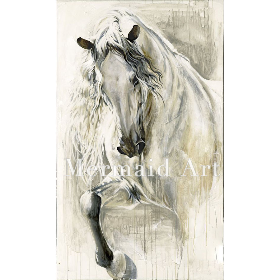 HandPainted Art Oil Paintings Animal Abstract Home Decor Black White Horses Painting On Canvas For Living Room Artwork In Calligraphy