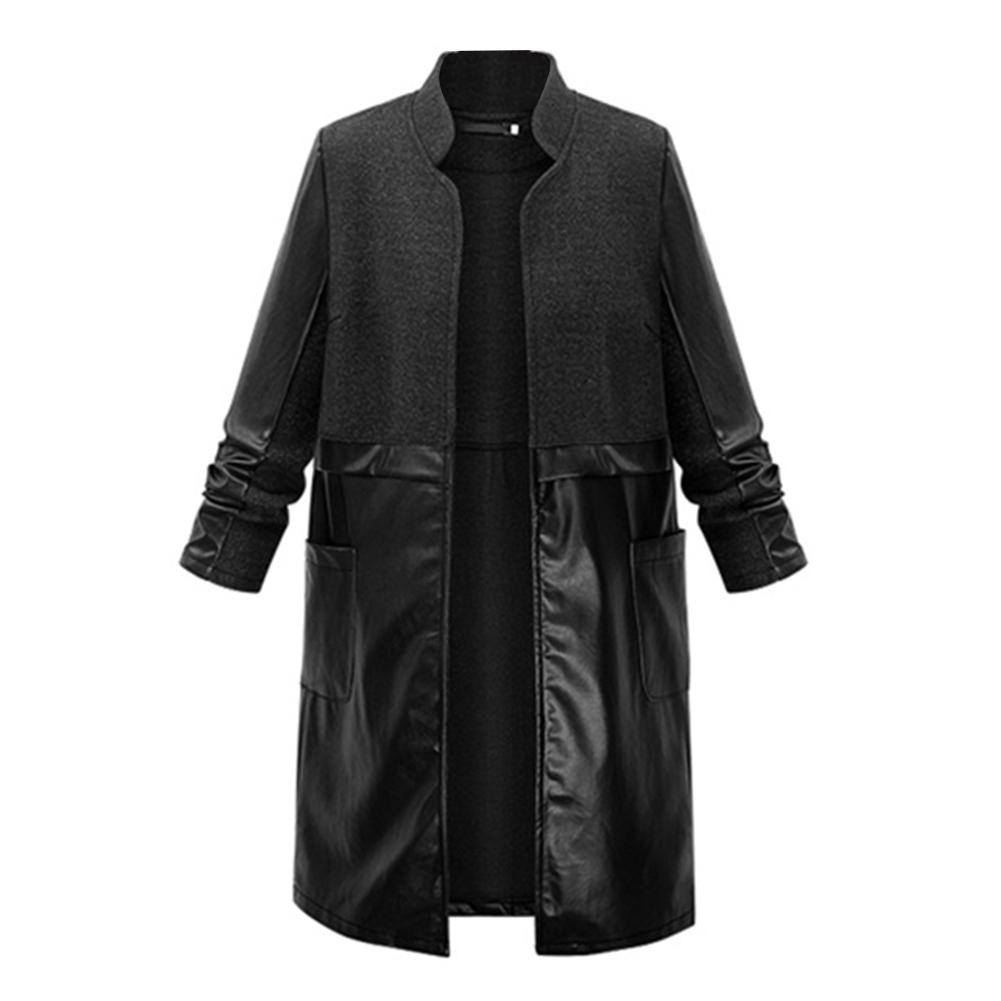 Plus Size Women Stand Collar Faux Leather Patchwork   Trench   Coat Long Outwear