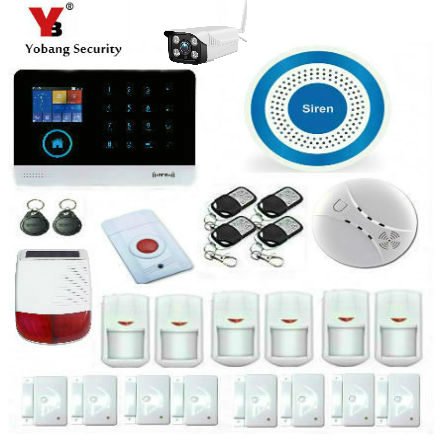 YoBang Security IOS Android App WIFI GSM GPRS RFID Touch Pad Home Alarm Security System Outdoor IP Camera Solar Alarm System.