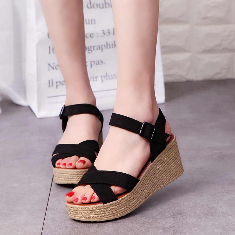 0258bbfbb500c3 Summer new platform sandals women gladiator high heels open toe woman shoes  wedges roman ladies sandals