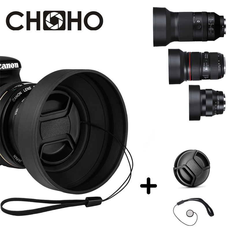 Rubber Lens Hood Tele Wide-Angle Standard 49mm 52mm 58mm 55mm 62mm 67mm 72mm 77mm Telephoto + Lente Cap For Canon Nikon Sony