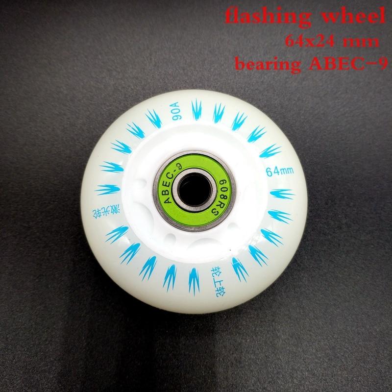 Free Shipping Flashing Wheel Lighting Wheel For Children 64*24 Mm With Bearing ABEC-9