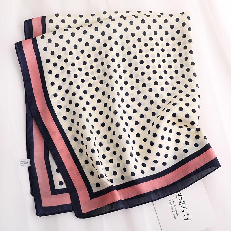 Dot printed silk   scarf   square women high quality neckerchief small winter   scarves   lady hair band skinny scarfs   wrap   shawl