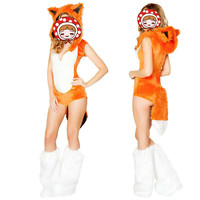 Fox Costume Sexy Teddy Type With Faux Fur Halloween Sexy Fox Cosplay Costume Adult Women 2017