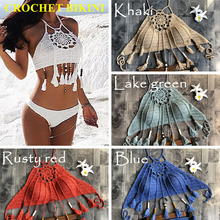 купить CROCHET BIKINI 2019 Sexy Halter Tie Knitting Beach Swimwear Halter Beaded Tassel Crop Top Brazil Bikini Swimsuit Bathing Suit дешево