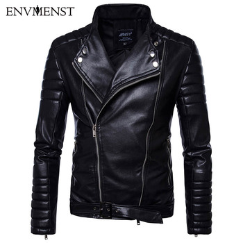 Envmenst 2017 New Autumn Casual Stand Collar Motorcycle Jackets Coat PU Male Striped Shoulder Sleeves Faux Leather Jacket