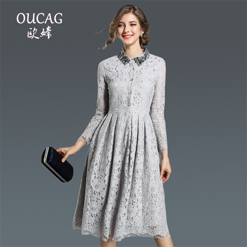 OUCAG New Autumn Winter Graceful Lace Dress Woman Beaded Ball Gown Long Sleeves Slim Big Hem Knee Length A-Line Dress Vestido ...