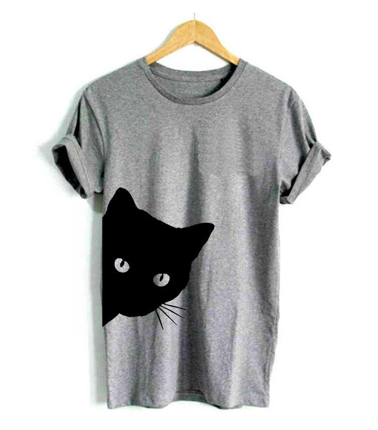 RENBANG Kat Uitkijken Zijde Print Dames T-shirt Katoenen - Dameskleding
