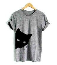 RENBANG Macska Nézd ki oldal nyomtatása Női póló pamut alkalmi Vicces póló Lady Girl Top Tee Hipster Tumblr Drop Ship