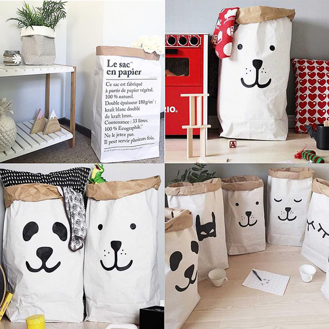 Cute Heavy Kraft Paper Storage Bags Baby Toys Bag Laundry Clothes Organizer