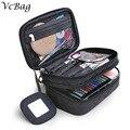 Cute Bow Zipper Women Makeup Bag Polka Dot Stripe Purse Storage Organizer Box Beauty Case Travel Pouch