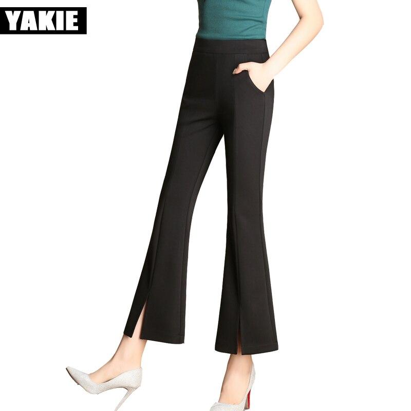 2017 Kalhoty na jaře 2017 Dámské spodní kalhoty Mid pas, Černá Bílá Šedá Ženy Kalhoty Módní Slim OL Style Black Suit Pants 3XL