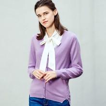 ZHILI осенне-зимний женский v-образный вырез чистый цвет Кардиган кашемировый свитер
