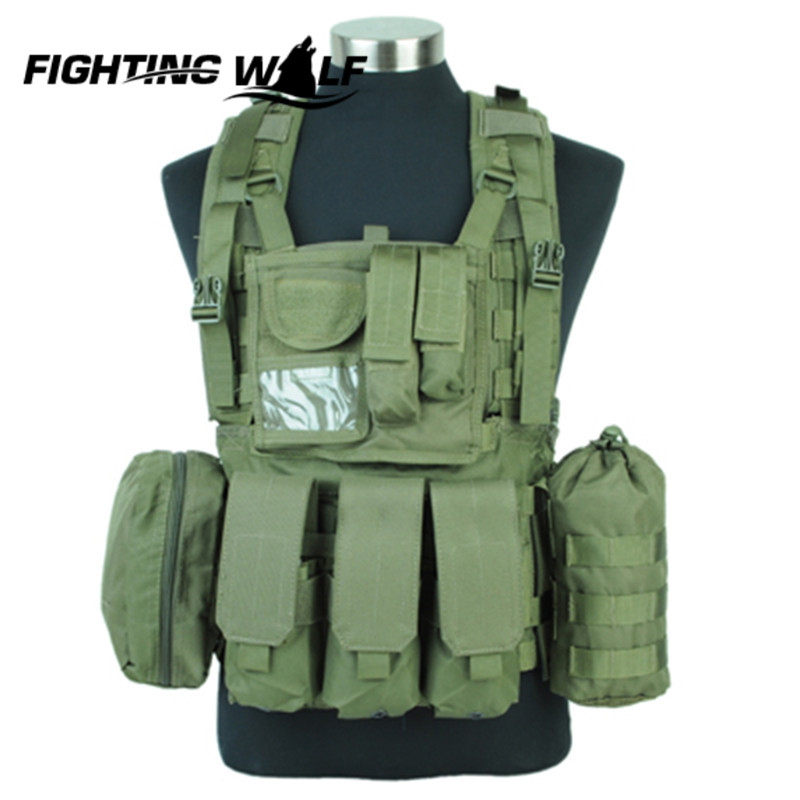 ФОТО High Quality Nylon Material 1000D Airsoft Tactical Molle Design RRV Comfortable Lightweight Wearable Scout Vest Olive Drab Color