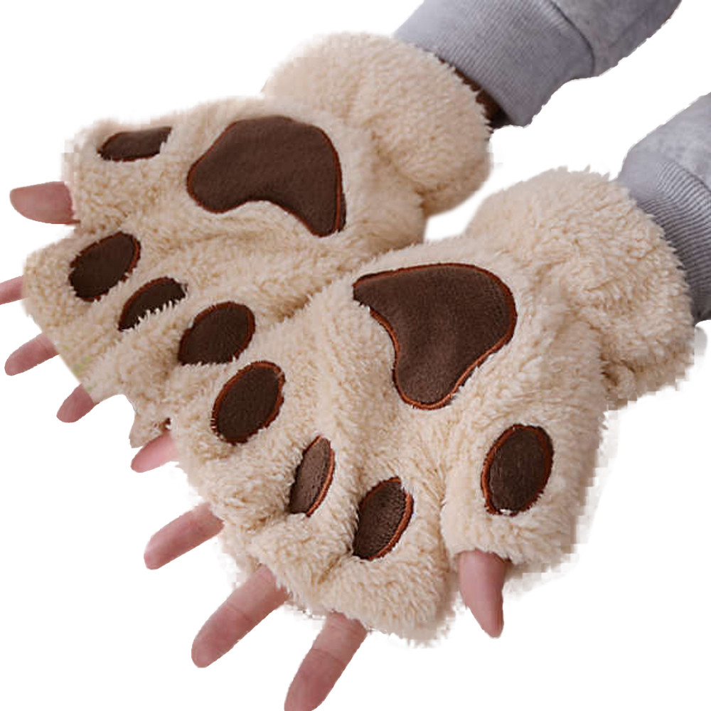 2019 winter warm cute women bear cat claw paw mitten plush. Black Bedroom Furniture Sets. Home Design Ideas