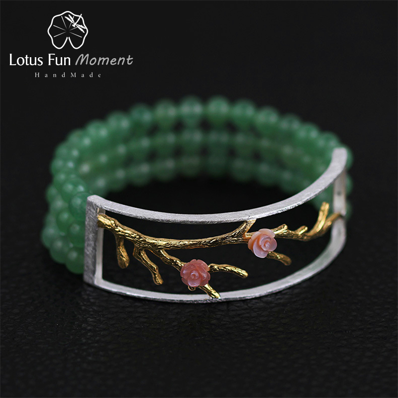 Lotus Fun Moment Real 925 Sterling Silver Natural Aventurine Handmade Fashion Jewelry Vintage Plum Blossom Beads
