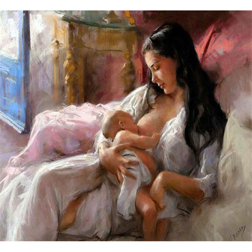 Diy Digital Painting By Numbers Package Breastfeeding Oil Painting Mural Kits Coloring Wall Art Picture Gift Frameless Orthopedics & Supports