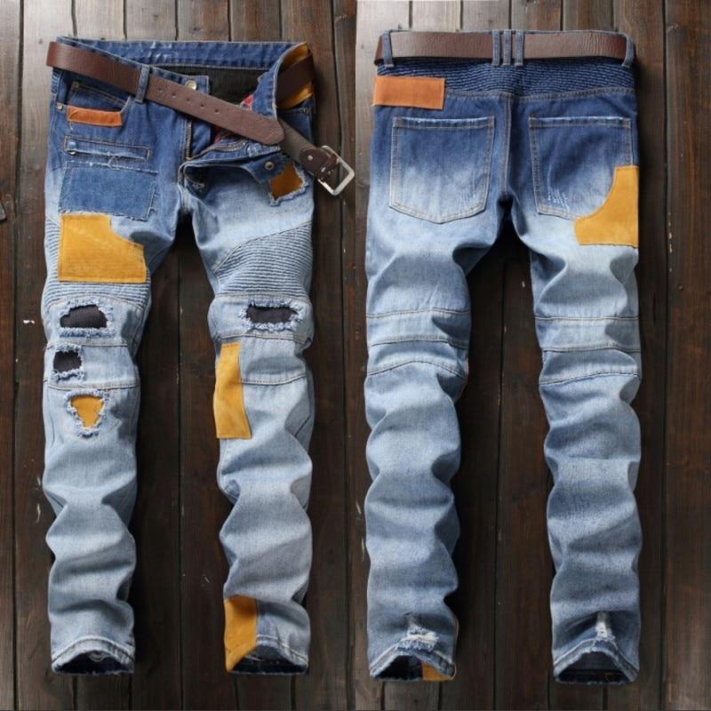 2018 Sale Zipper Fly Mid Jeans Men New Beggar Pants Europe Personality Stick Machine Car Color Matching Jeans Men Punk 550-5