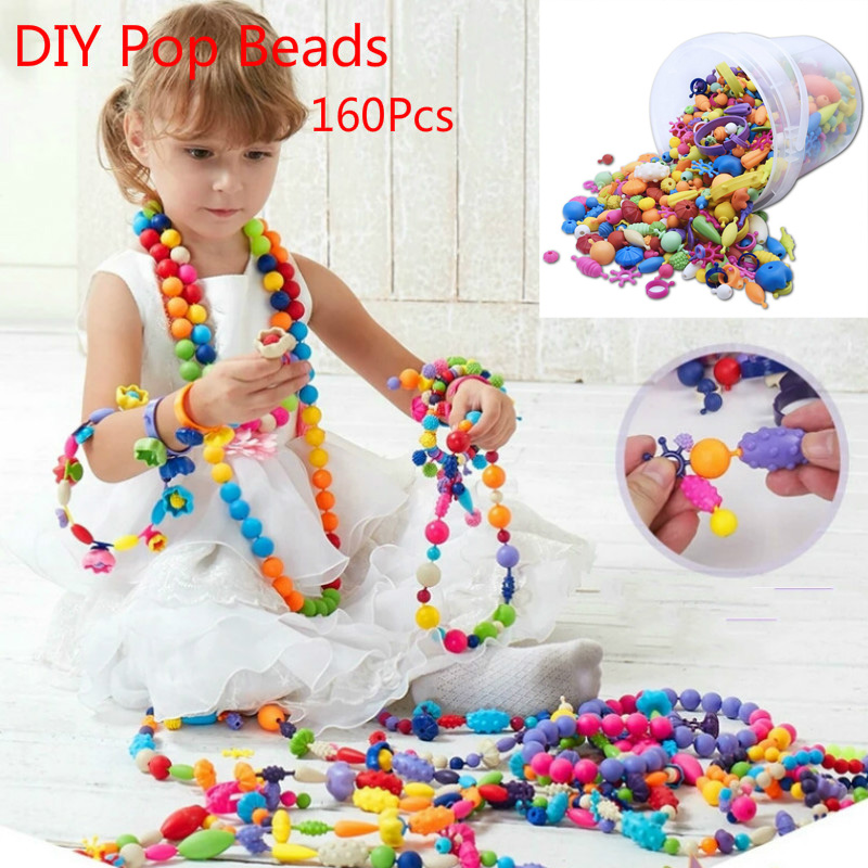 160Pcs DIY Pop Beads Toy Creativel Arts And Crafts For Kids Bracelet Snap Together Jewelry Fashion Kit Educational Toy For Child