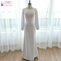 White Mermaid Long Sleeve Wedding Dresses 2018 Elegant Muslim Simple Bridal Gowns Singapore Islamic Swing Wedding Gowns ZW035
