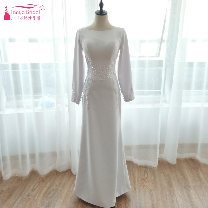 White Mermaid Long Sleeve Wedding Dresses 2018 Elegant Muslim Simple ...