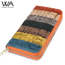 Spaziergang Kommen Echtem Leder Frauen Brieftasche Geprägt Leder Geldbörse Marke Design Kupplung Brieftasche Geld Tasche Münzen Halter