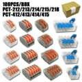 Type 100 pièces/boîte mini rapide Connecteurs de fil, Compact Universel Câblage Connecteur enfichable Bornier PTC-412 212 413 213 415