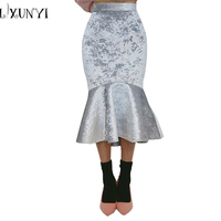 Autumn Winter Women High Waist Velvet Skirt 2018 Slim Mermaid Silvery Skirt Midi Bodycon Fishtail Ruffles