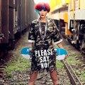Новый 2016 Камуфляж Письмо Футболка Платье Хип-Хоп Длинные Женщины Т рубашка С Коротким Рукавом Плюс Размер Женщин Топы Долго Футболку Платье