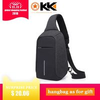 KAKA USB Sling Bag for Men Women Chest Bag Large Capacity Waterproof Summer Short Trip Messengers Crossbody Bags 2017 Hot Sale
