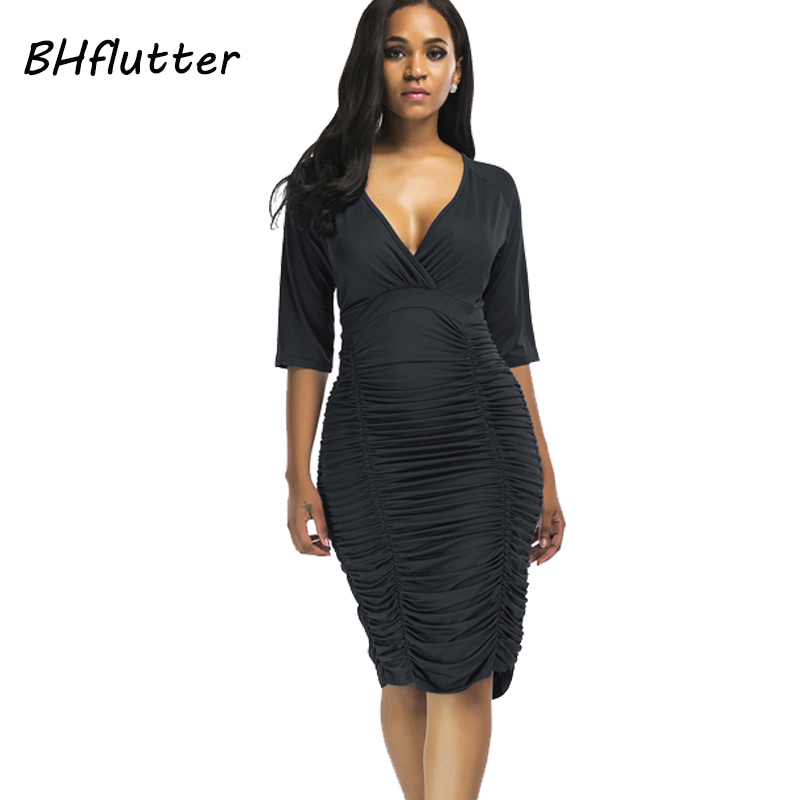 BHflutter 2018 Summer <font><b>Dress</b></font> Deep V neck Women <font><b>Sexy</b></font> <font><b>Dress</b></font> Plus Size XXL 3XL <font><b>4XL</b></font> High Waist Black Evening Party <font><b>Dress</b></font> Vestidos image