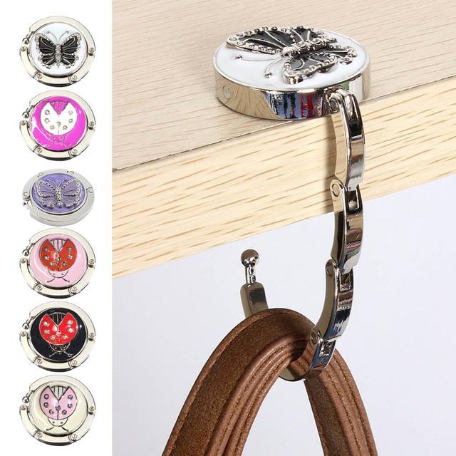 Portable Metal Foldable Bag Purse Hook Hanger Handbag Holder Shell Folding Table