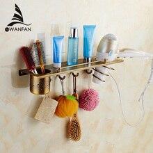 Bathroom Shelves Antique Brass Multi function Hair Dryer Holder With Hooks Hanger font b Storage b