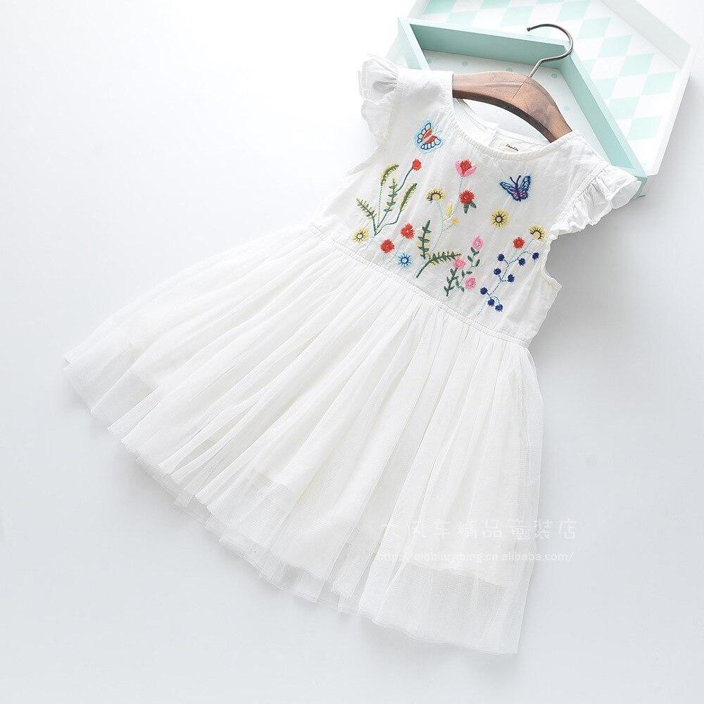 100% True Roimyal Wholesale 2019 Summer New Girls Cute Dress Toddler Girls White Flower Striped Sleeveless Dress 2-9years Free Shipping Dresses Mother & Kids