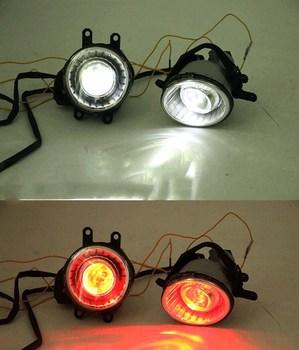 eOsuns COB angel eye led daytime running light DRL + halo Fog lamp + Projector Lens + devil eye for Toyota Camry 2011 2012 2013