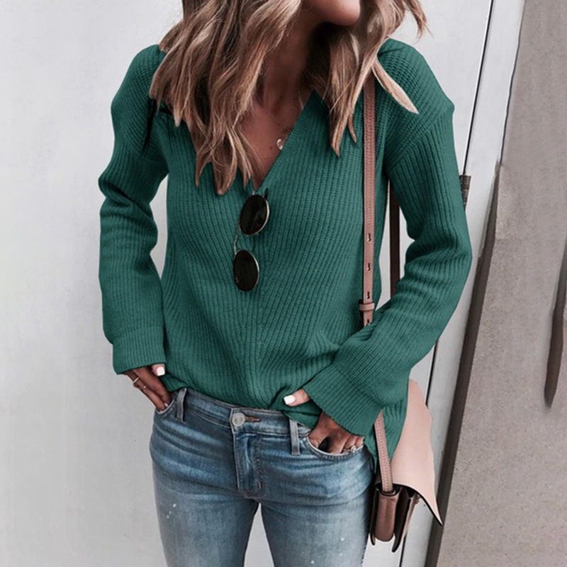 Plus Size V Neck Sweaters Pullovers Women Long Sleeve Casual Solid Knitted Autumn Winter Warm Sweater Green Black Jumper Mujer