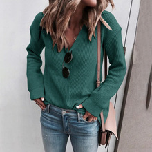 лучшая цена Plus Size V Neck Sweaters Pullovers Women Long Sleeve Casual Solid Knitted Autumn Winter Warm Sweater Green Black Jumper Mujer