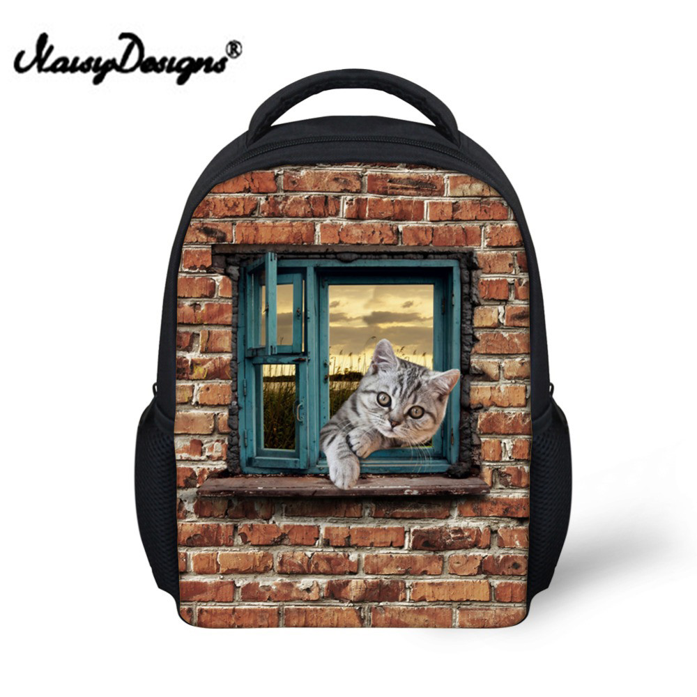 Vintage Animal Cute Cat Dog backpack Printed Children School Backpacks For Kindergarten  ...