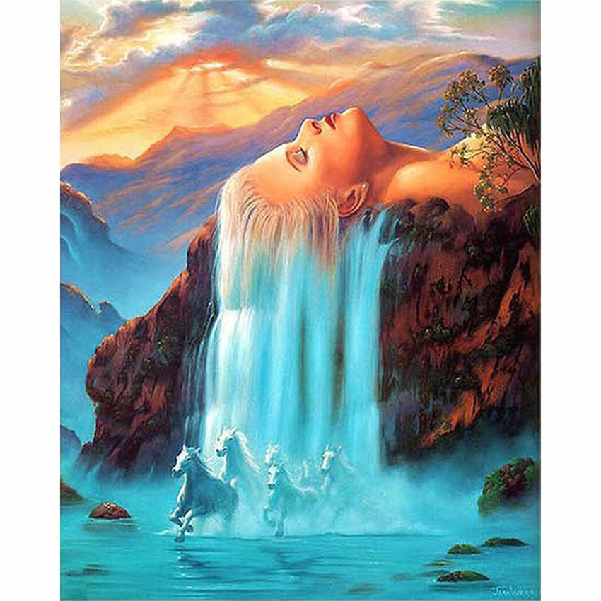 DIY Digital Painting By Numbers Package Girl waterfall horse oil painting mural Kits Coloring Wall Art Picture Gift frameless