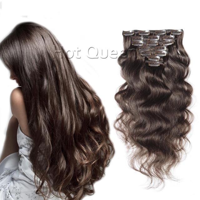 Remy Clipe na Cor #2 Do Cabelo Remy Humano de 26 Polegada grampo Em Extensões de cabelo Humano Onda Do Corpo da Extensão Do Cabelo Clipe Quente rainha