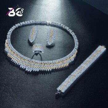 Be 8 Beauty 2 Tones CZ Wedding Bridal Jewelry Sets for Wedding Accessories Nigeria Jewelry Necklace Bangle Set Bijoux Femme S320