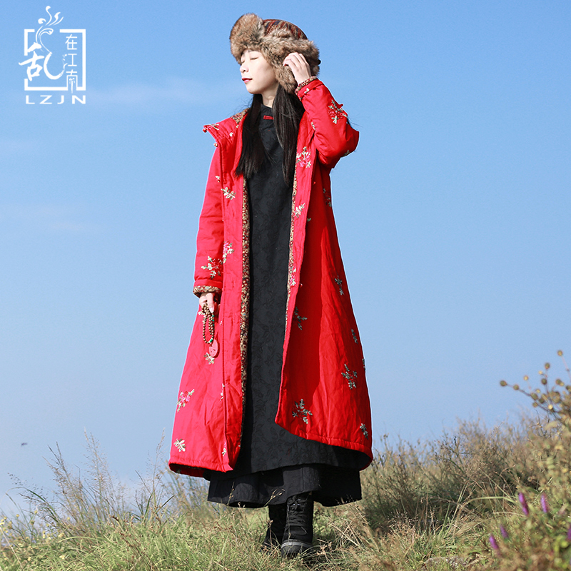 Winter Cotton Quilted Jacket Flower Women   Parka   Autumn Thin Wadded Coat Hooded Trenchcoat Red Overcoat Long Windbreaker