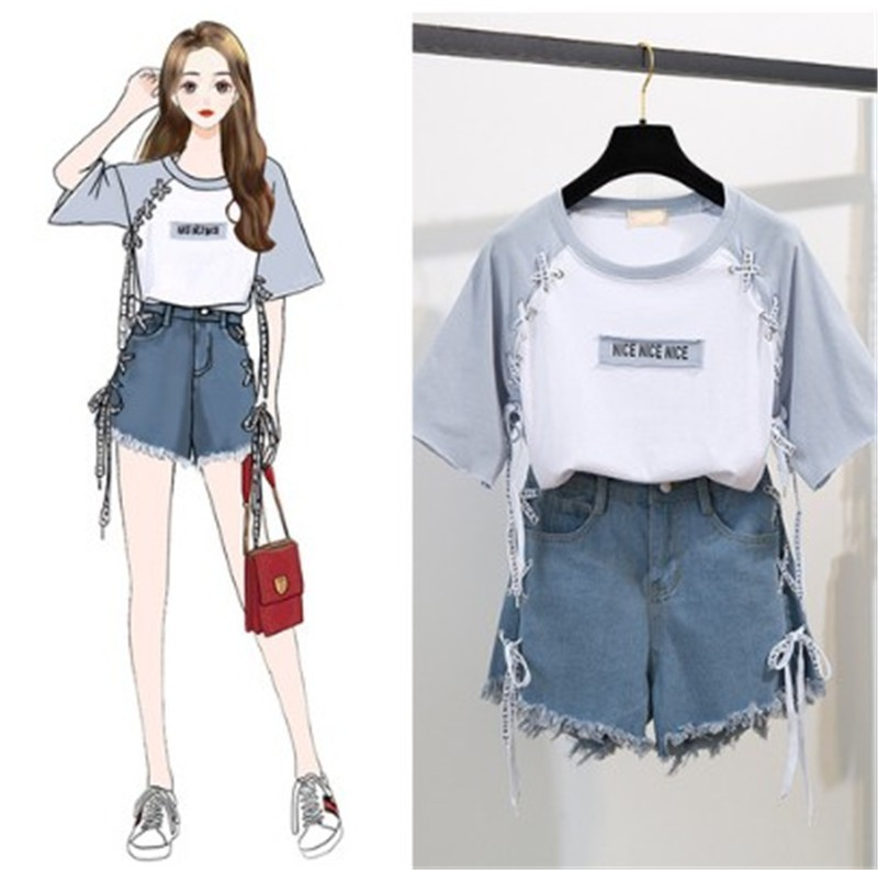 2019 Summer Girl Leisure Tether Print T-shirt + Letter Hole Denim Skirt Two-piece Women's Sweet Skirt Suit Women Sets