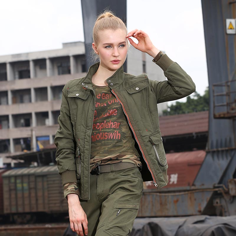 Womens Fashion Army Green Jackets Winter New Casual Coats & Jackets British Style Cotton Warm Slim Fit Womens Clothing GS-8213